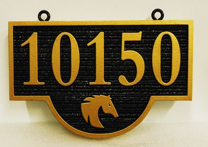 P25370- Carved and Sandblasted Address Number Sign with a  Silhouette of a Head of a Horse as Artwork