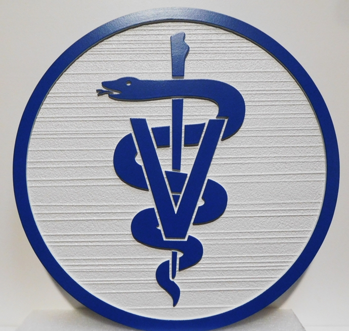 BB11987 - Carved and Sandblasted round Plaque  featuring a Caduceus,  for a Veterinary Office