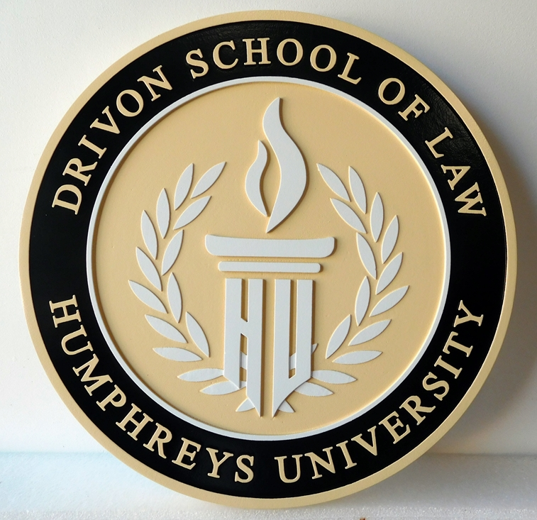 A10198 - Carved, HDU, Round Wall Plaque for Drivon School of Law, Humpfreys University with Laurel Wreath, Flame and Altar