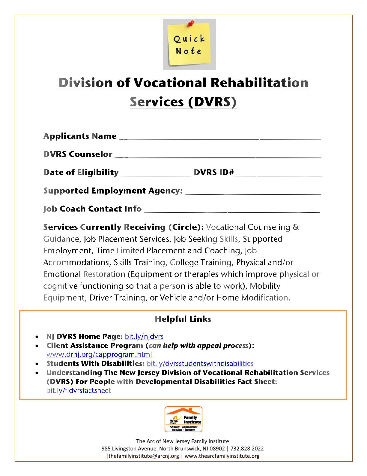 Division of Vocational Rehabilitation Services (DVRS)