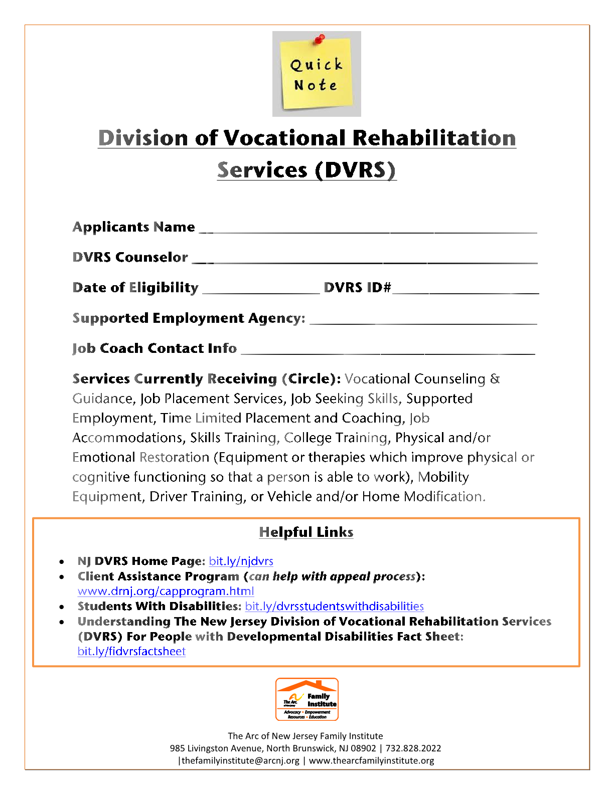 Division of Vocational Rehabilitation Services (DVRS)