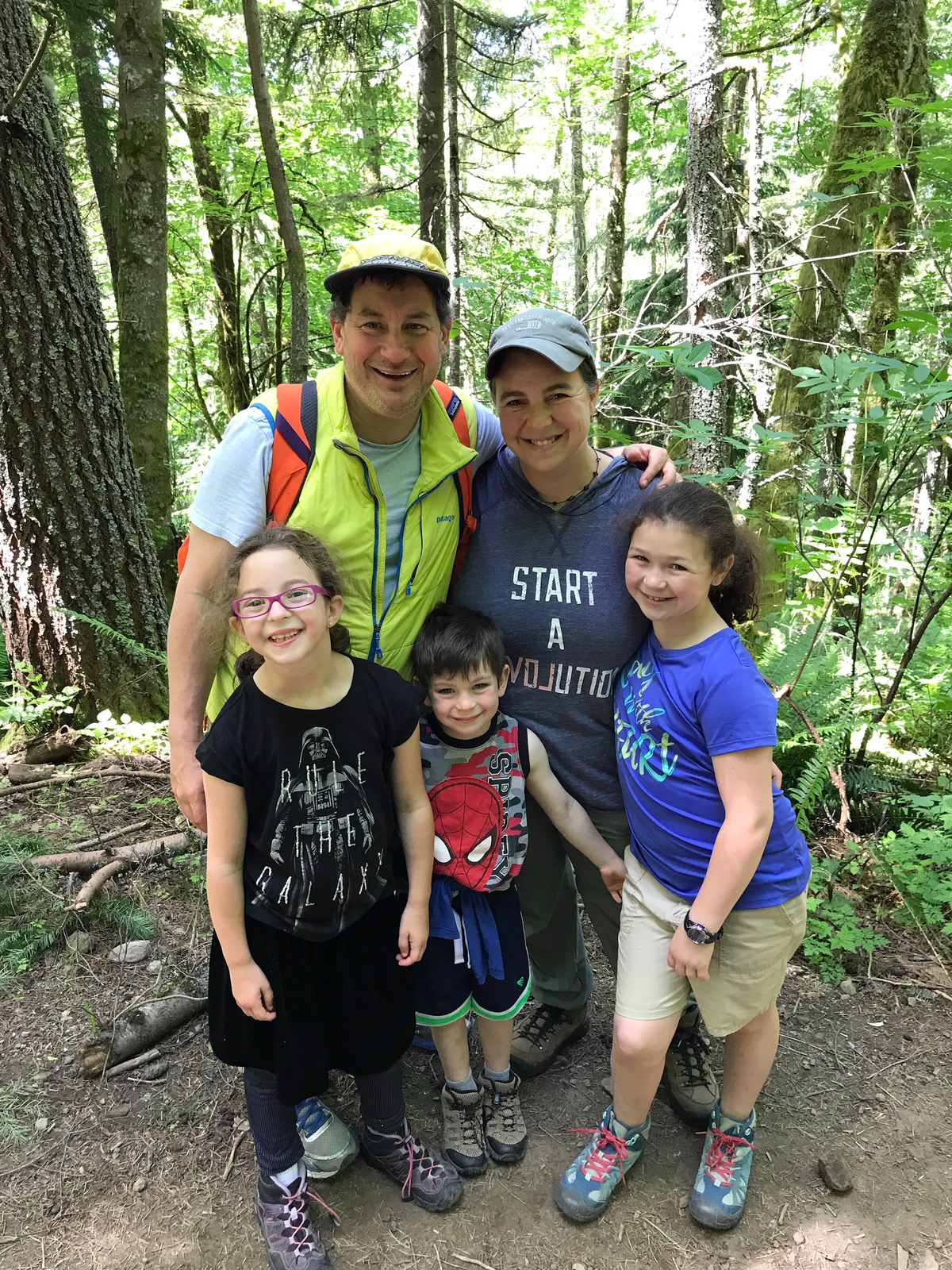 The Nussbaum/Pianko family on a hike, 2018.
