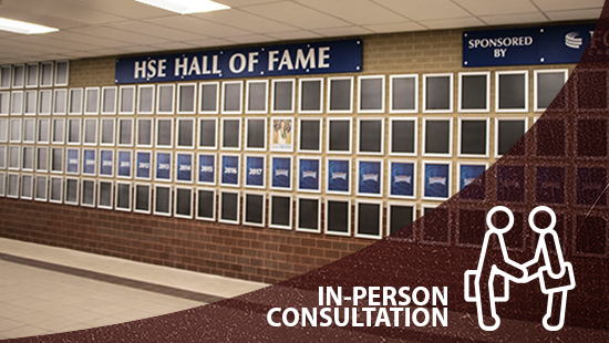 Descon in person consultation link, shows athletic hall of fame flip open frames, custom signs, signage company