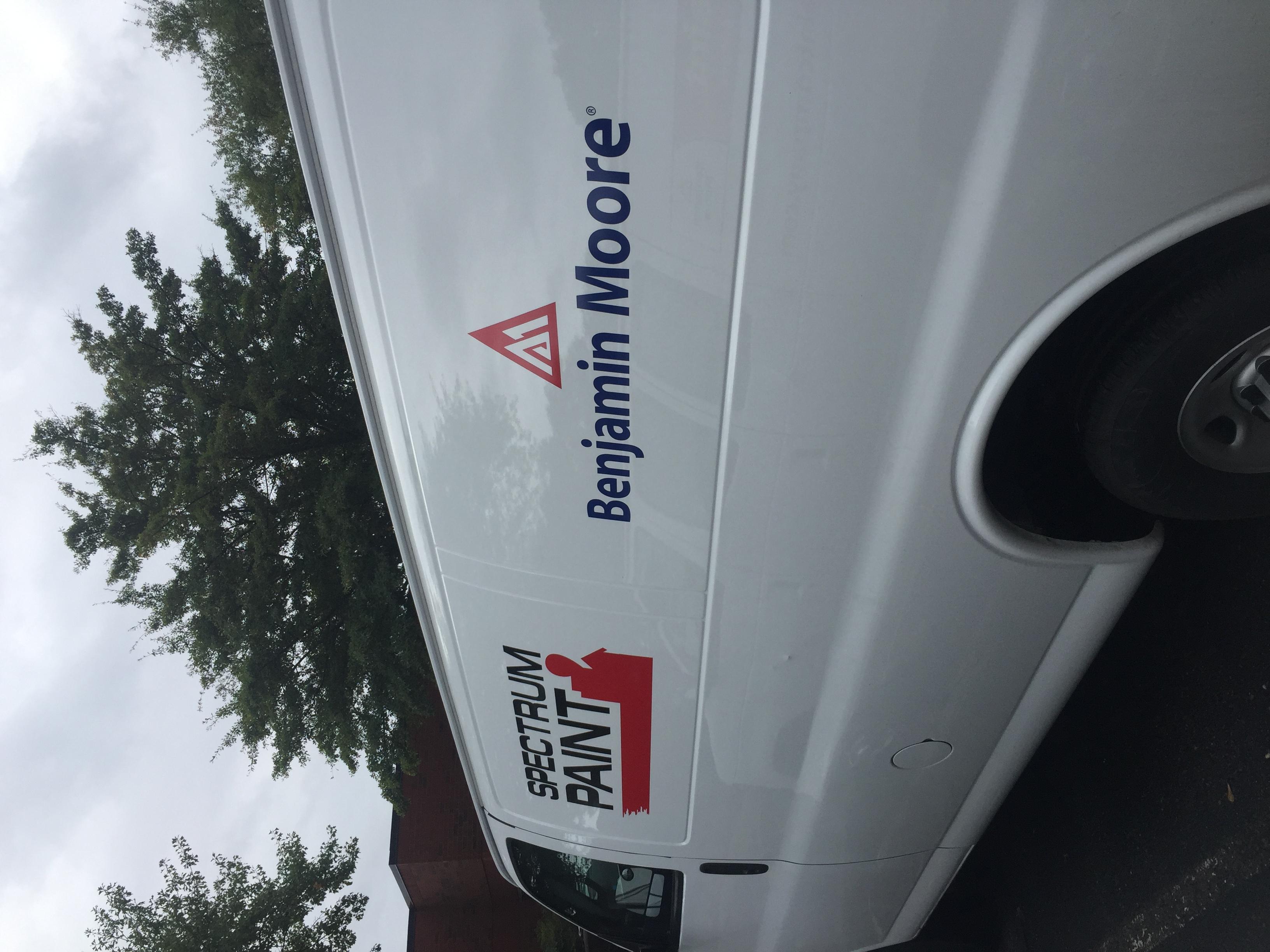 Graphics on side panels of van