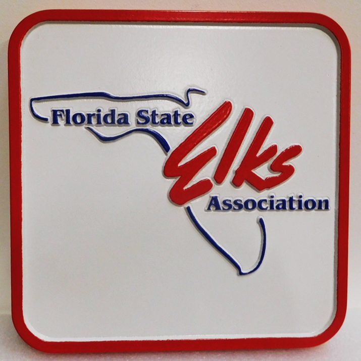 UP-2065 - Carved Plaque of the Logo of the Florida State Elks Association, 2.5-D Artist Painted