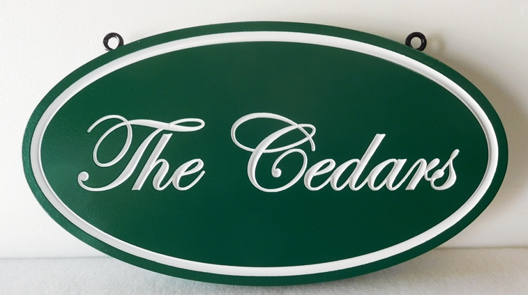 "I18110- Elegant Property Name Sign  in Script with Gold Leaf, ""The Cedars"""