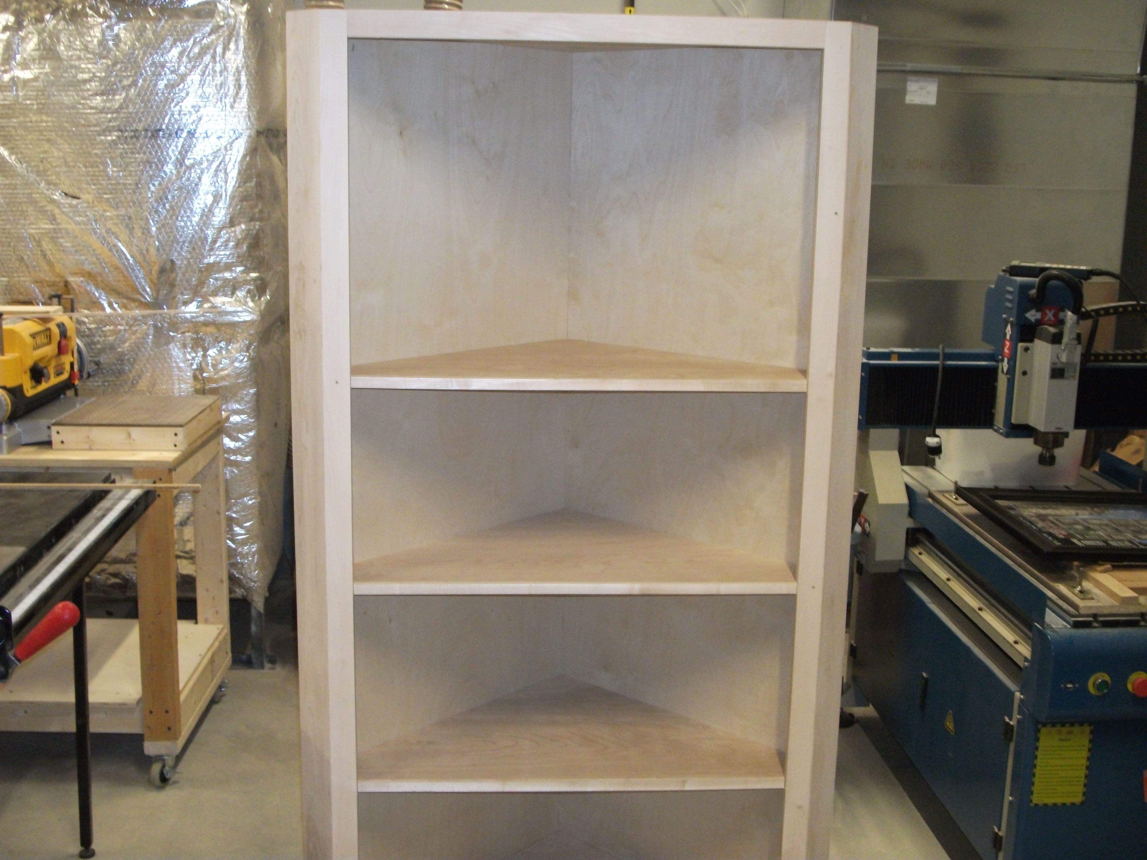 Shelves built by the woodworking volunteers