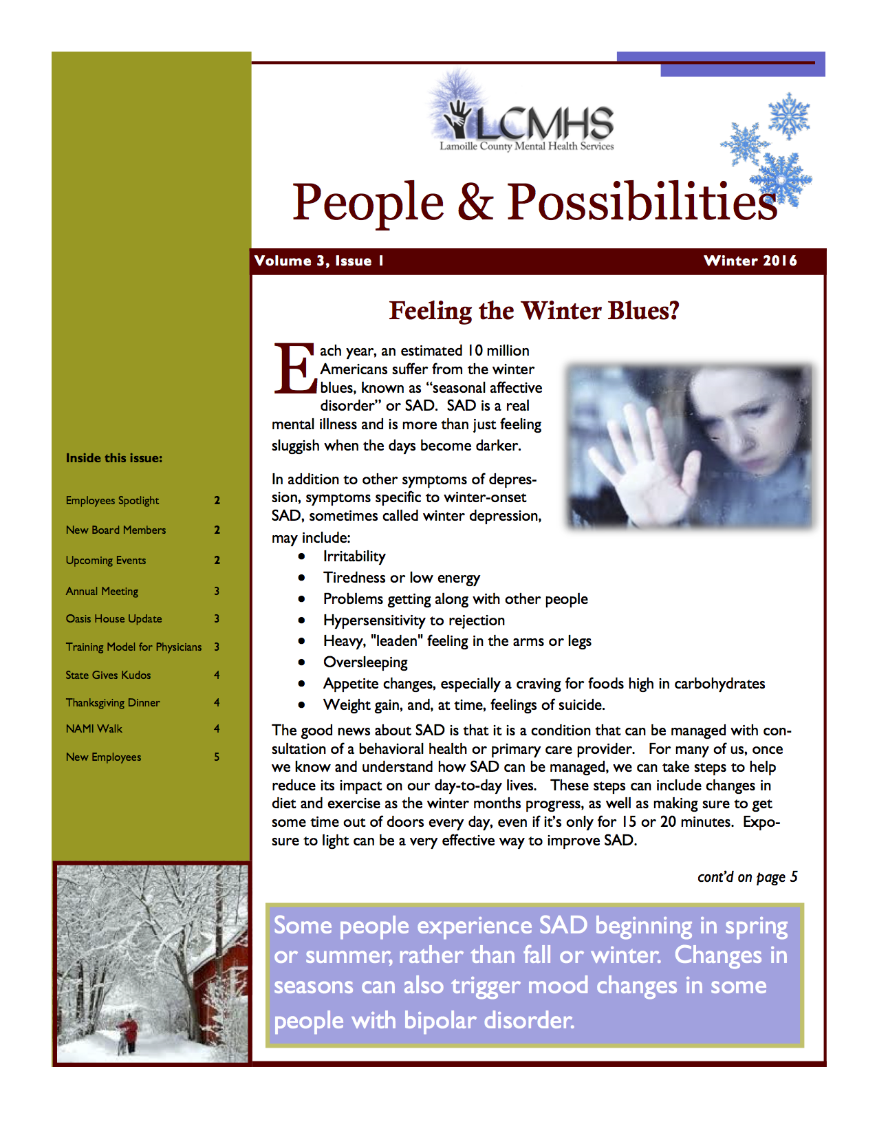 2016 Winter Newsletter