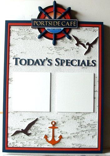 "Q25173 - Antique Oceanside Restaurant Sign for ""Today's Specials,"" Seagulls, Ship's Helm and Anchor"