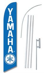 Yamaha Blue Swooper/Feather Flag + Pole + Ground Spike