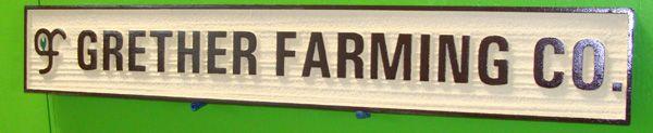 O24756 - Sandblasted Wood Grain Sign for Grether Farming Co. with  Leaf Logo