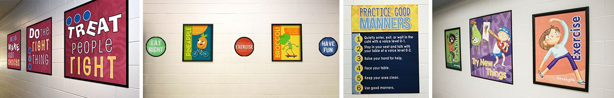 4 pictures of elementary school signs, good manners sign, exercise, treat people right custom signs