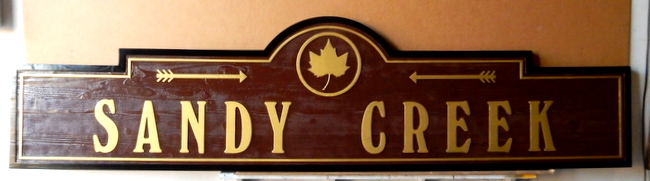 H17065 - Carved Western Red Cedar Road Name Sign, Sandy Creek