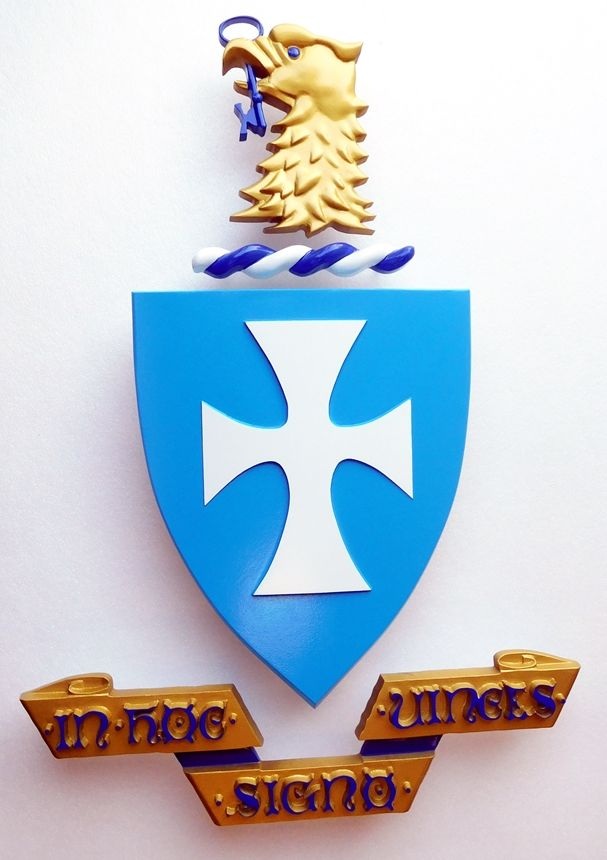 Y34514 - Carved 3-D Hand-Painted Wall Plaque of Coat-of-Arms for a Fraternity