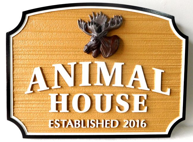 """M22643 - Cabin Sign """"Animal House"""" featuring a 3-D Carving of a Moose Head"""