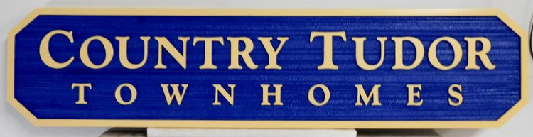 "K20208 - Sandblasted HDU Entrance Sign to ""Country Tudor"" Residential Community"