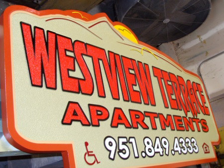 K20139 - Large Sandblasted HDU Apartment Entrance Sign
