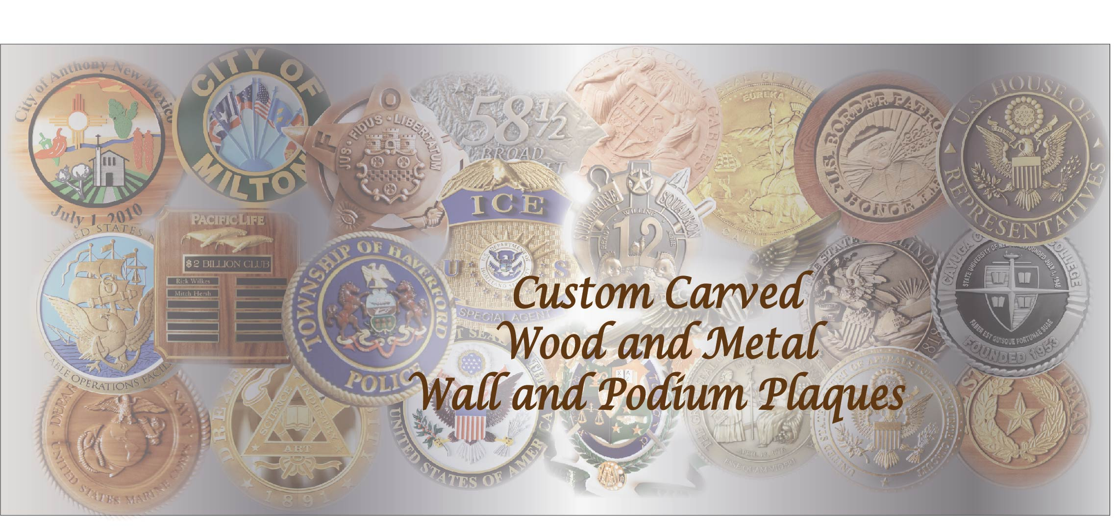 Carved Wood and Metal Plaques