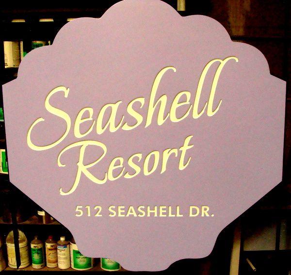 L21546 - Engraved HDU Seashell Sign for Beach Resort