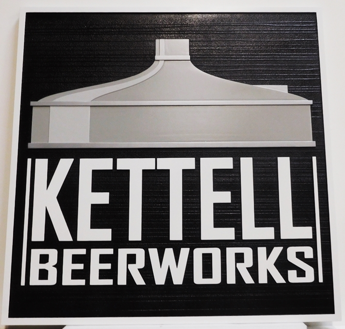 "RB27690 -  Carved ""Kettell Beerworks""  Sign, with Kettle as Artwork, 2.5-D Artist-Painted"