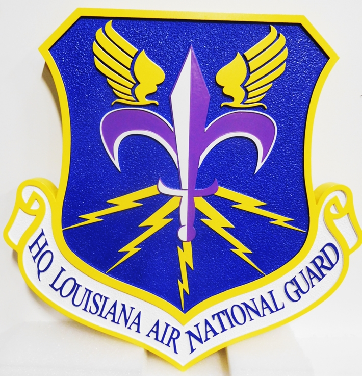 LP-1790 - Carved Plaque of the Crest of the HQ of the Louisiana Air National Guard, 2.5-D Artist Painted.