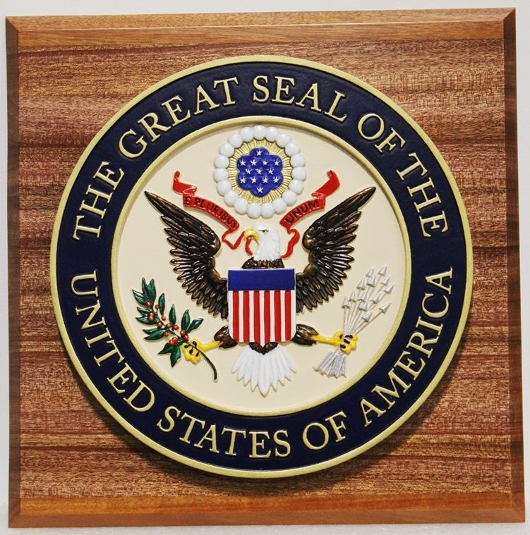 AP-1030 - Carved Plaque of the Great Seal of the United States, on Wood