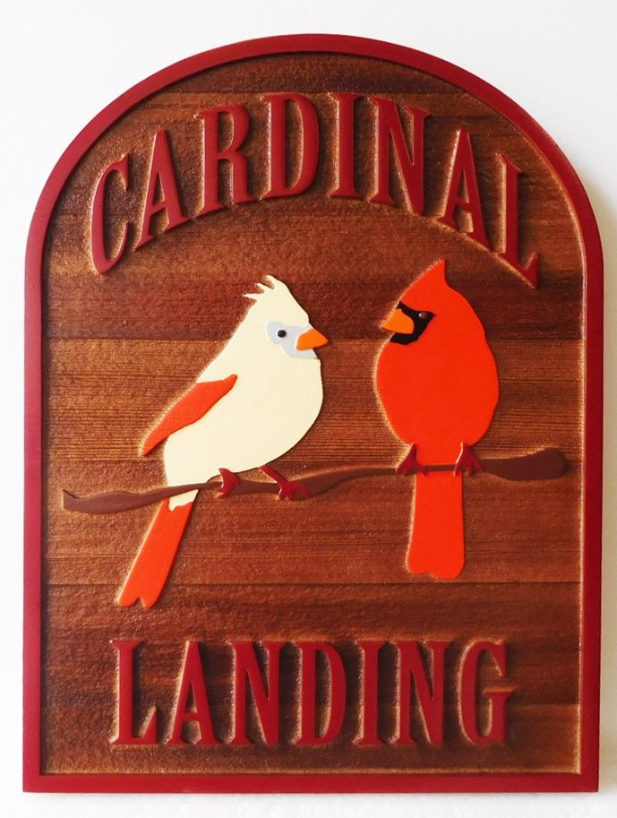 "I18505 - Carved Cedar Wood Residence Name Sign ""The Cardinal Landing"", with Two Cardinal Birds Perched on a Branch as Artwork"