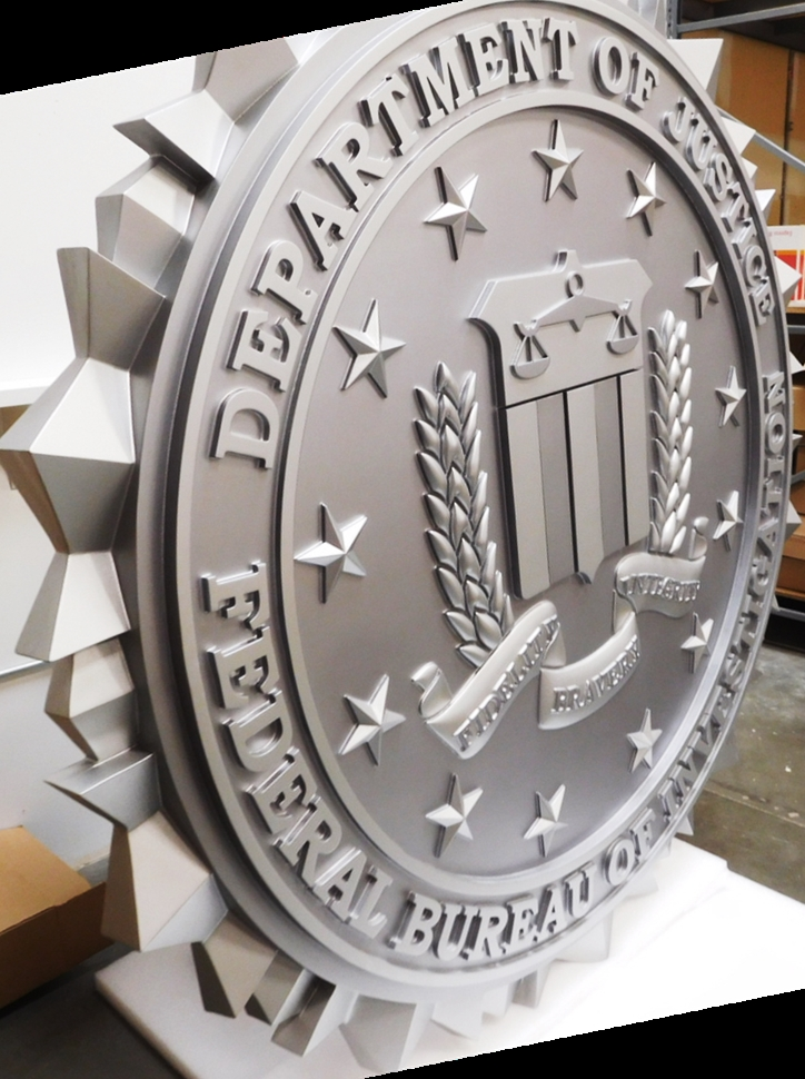 AP-2409- Large Carved Plaque of the Seal of the Federal Bureau of Investigation (FBI), 3-D Bas-Relief, Metallic Silver Painted (Side View)