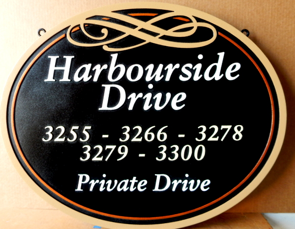 H17107 - Carved HDU Harbourside Private Road Sign