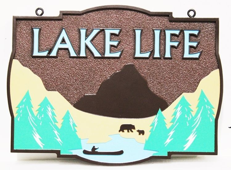 "M22416 -  Carved and Sandblasted 2.5-D HDU Lake House Name Sign ""Lake Life"", with a mountain, lake, trees and Canoe as Artwork."