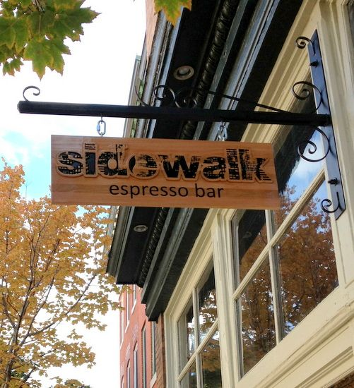 Q25408 - Blade Sign on Decorative Scroll for Sidewalk Expresso Bar