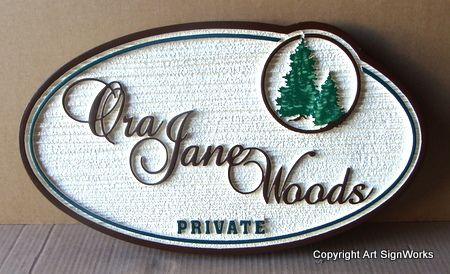 "M22080 - Carved Property Sign ""Ora Jane Woods""""  with Spruce Trees"