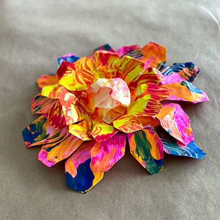 Fork Painted Paper Plate Flowers