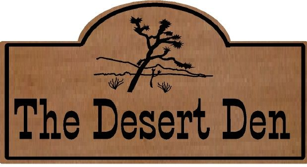 """M22958 - Design of a Carved Wooden Sign for """"Desert Den""""  Home with Joshua Tree and Mountains"""
