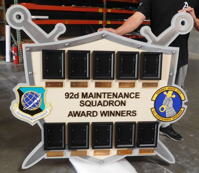 SB1100 - Award Photo Board for the 92nd Maintenance Squadron of the US Air Force,  Carved from High Density Urethane (HDU).
