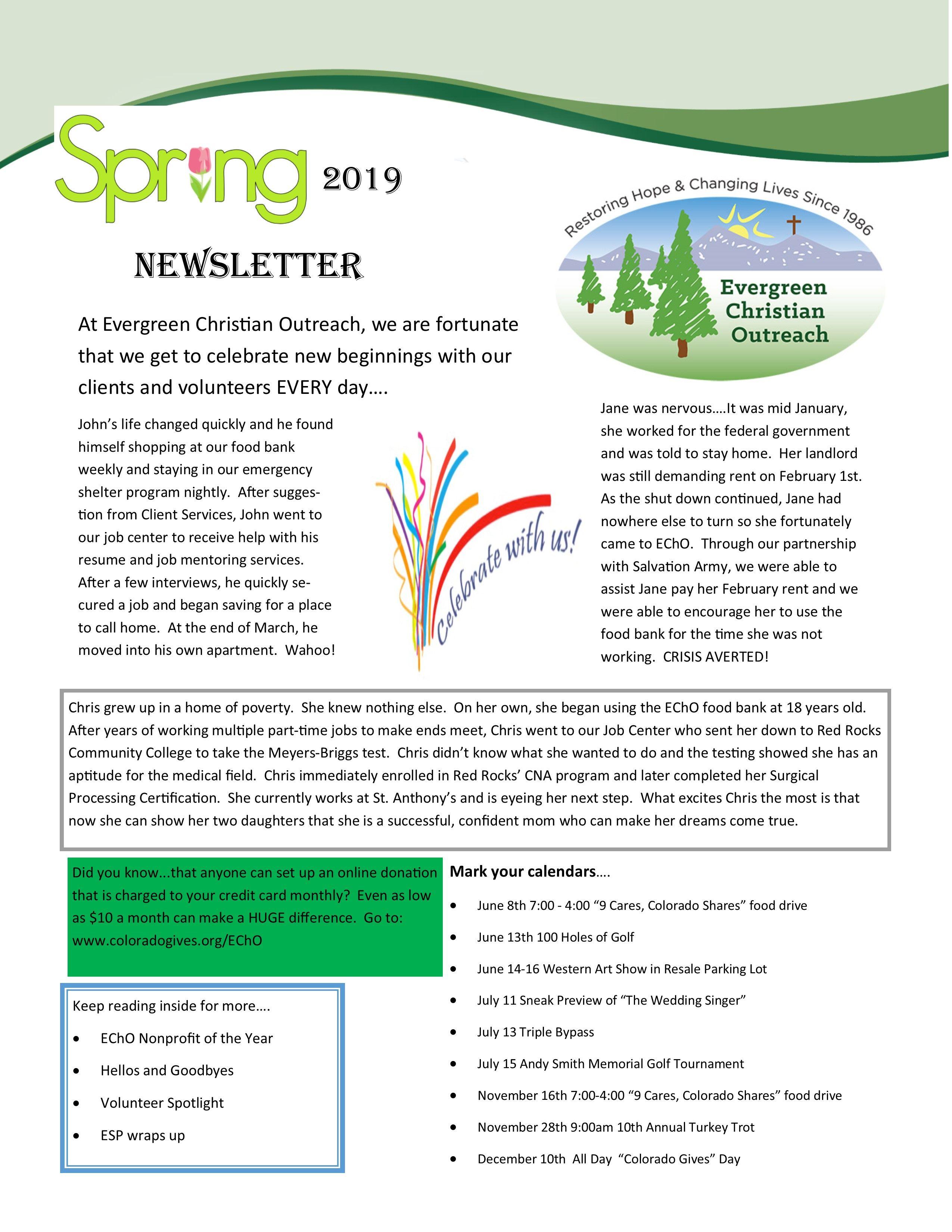 2019 Spring Newsletter
