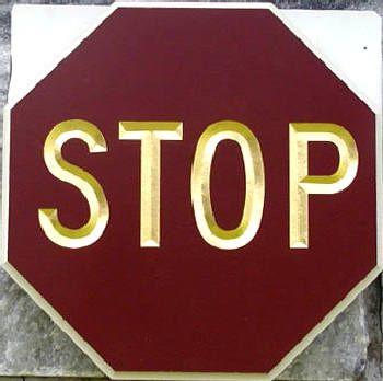 H17172 - Carved HDU STOP Sign
