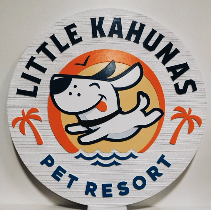 BB11772 - Carved and Sandblasted HDU Round Entrance Sign for the Little Kahunas Pet Resort , with Happy Dog as Artwork