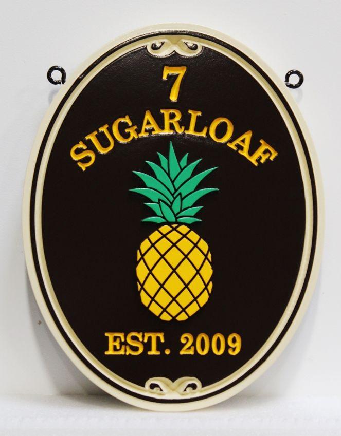 I18453 - Sandblasted Carved Pineapple Address Sign