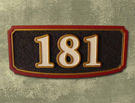 I18901 - House Address Number Plaque, Sandblasted and Carved HDU, Outlined Numbers and Double Border