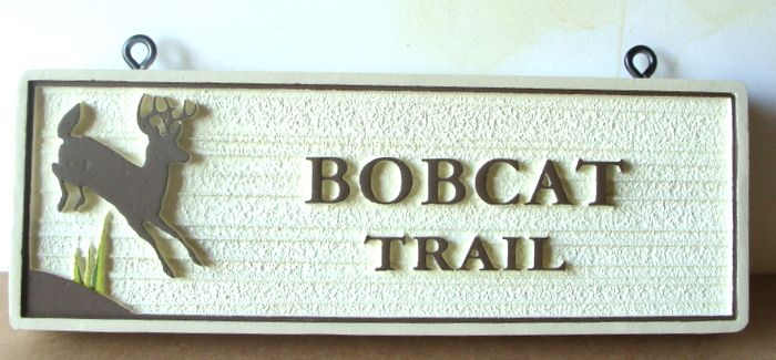 G16127-  Bobcat Trail Sign with Deer