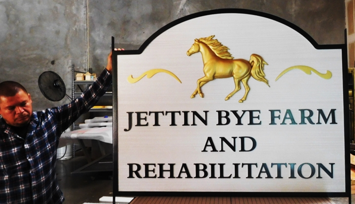 "P25207 -   Entrance Sign for the ""Jettin Bye Farm and Rehabilitation"" Center with a 3-D Carved Horse Gilded in 24K Gold-leaf"