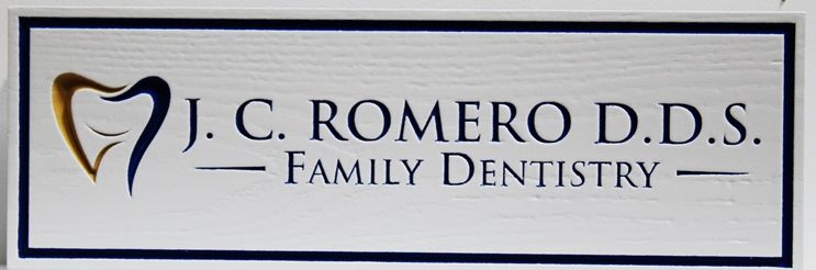 BA11646 - Carved and Sandblasted 2.5-D  Western Red Cedar Sign for  a Family Dentistry office
