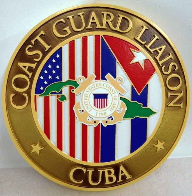 NP-2290 - Carved Plaque of the Seal of the  US Coast Guard Liason to Cuba,  Artist Painted