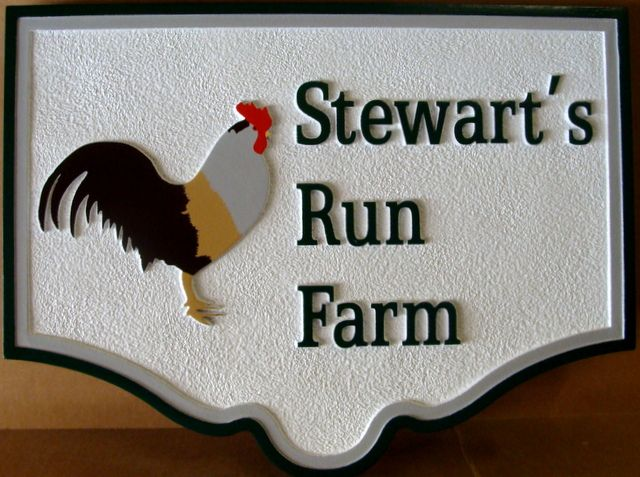 "O24451 - Entrance Sign for ""Stewart's Run Farm"", featuring a Carved Rooster"