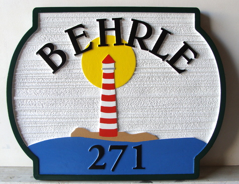 L21013B - Carved and Sandblasted HDU Residential Address Sign, with Lighthouse