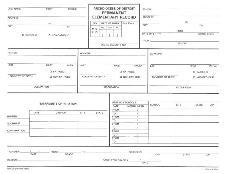 Permanent Elementary Record