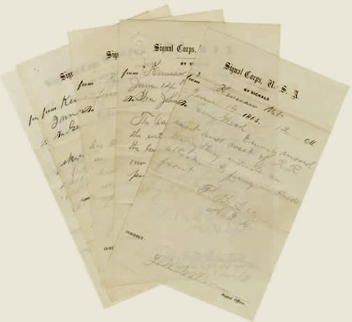 Five Union Army Transcripts of Confederate Signal Flag Messages