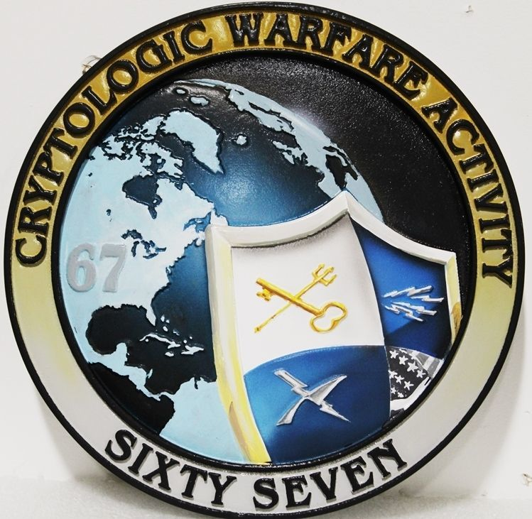 JP-2356 - Carved 2.5-D HDY Plaque of the Crest/Seal of of the Cryptologic Warfare Activity Sixty-Seven, US Navy