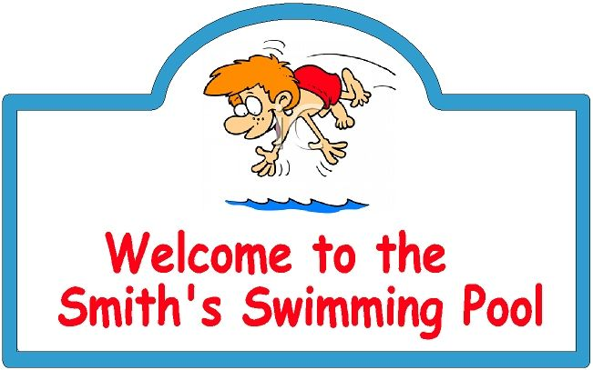GB16180 - Design of an HDU Welcome Sign for a Private Swimming Pool with a Little Boy Diving into the Pool